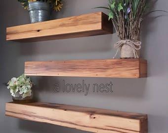 Free floating shelf cedar wood barn wood cedar shelves