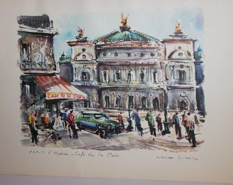 Art print, Marius Girard, French cafe scene with L'Opera in Paris