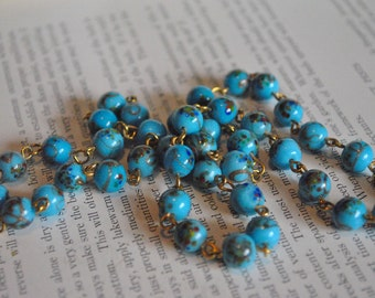 Vintage Blue Venetian Glass Bead Necklace - 1960s Murano Style Beads