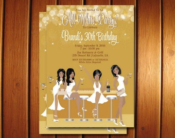 All White Party Invitation - White Birthday Party Invite - Choose Your Hair Color