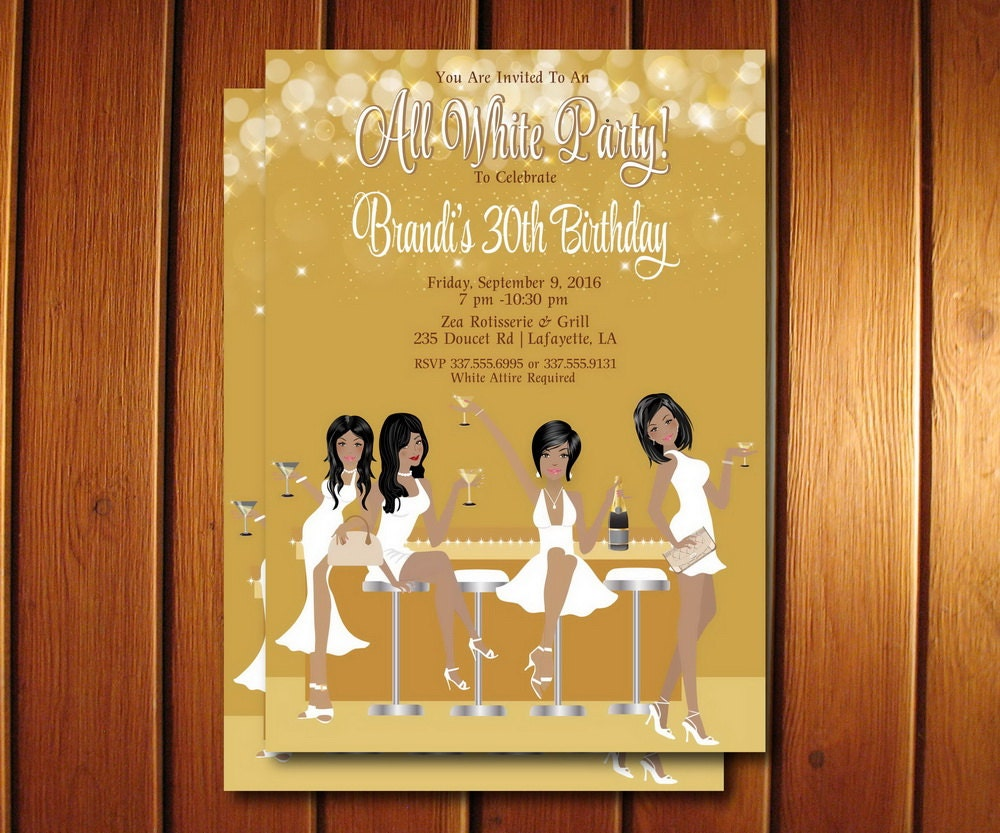 All White Party Invitation White Birthday Party Invite
