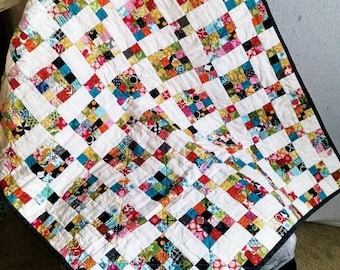 PATTERN Scrappy Nine Patch Quilt Pattern/Easy Quilt Pattern/Scrap Buster Pattern/Quilt Pattern/Baby Quilt Pattern