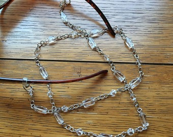 Eyeglasses Chain. Clear glass beads. Silver chain.