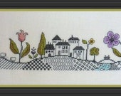 Up and Down Hill (Ondulations) – counted cross stitch chart. Monochrome design using black thread. Blackwork. English instructions.