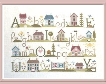 ABC of Houses – counted cross stitch chart to work in 17 colours of DMC thread. House sampler. ABC Sampler. Alphabet and Houses chart.