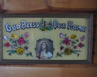 Reverse Painted with Foil Picture God Bless Our Home Vintage Picture