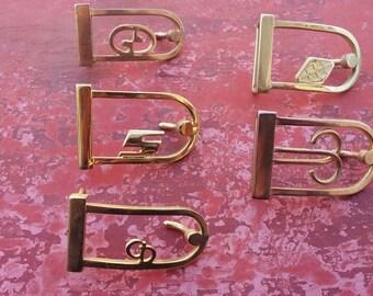 5 vintage brass belt buckles, solid brass buckles, delicate belt buckles, sewing supplies, various designs (26/28) (pras1)