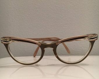 Vintage Metal Rhinestone Cat Eye Glasses