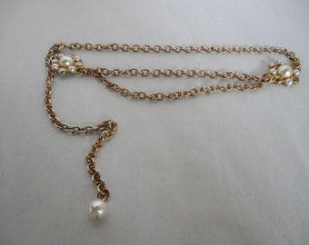 Vintage Chain Belt With Pearls