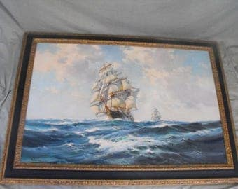 Wilfred Knox British Ships at Sea Rolling Waves Seascape Oil on Canvas Painting