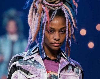 Marc Jacobs fashion show Wool Dreadlocks Custom Wool Dreads Handmade Set  Hair Extensions Wool Dreads Ombre Hair Accessories Set of 45