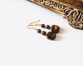 Free Shipping,Brown Tiger Eye Earrings, brown beads, handmade earrings,Made in USA, square tiger eye beads,tiger eye jewelry,brown gemstones