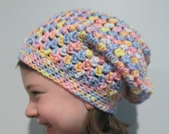 Child's Slouchy Hat, Kid's Slouchy Beanie, Bad Hair Day Hat for Kids, Spring Summer Hat, Made in Canada, Ready to Ship