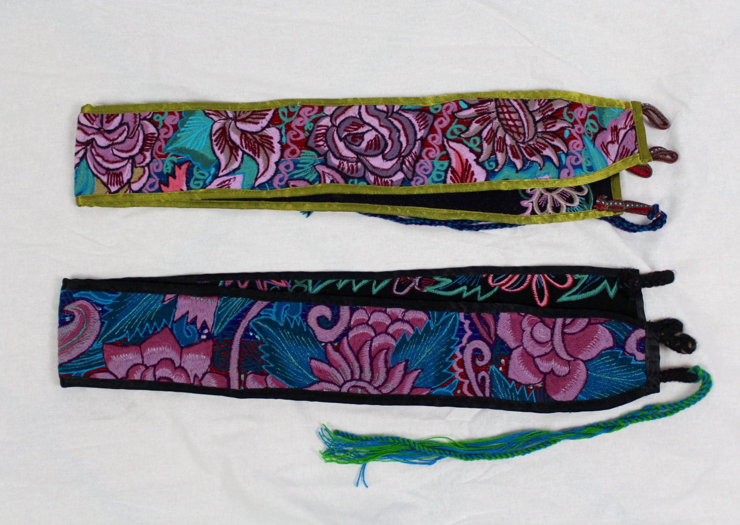 Repurposed mexican machine embroidered belt with colorful