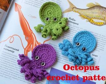 Crochet pattern Octopus applique ornament Crochet Crafts animal PDF Tutorial Beach decor Embellishment Accessories Motif Diy pattern