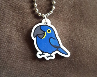 "NEW Chubby Hyacinth Macaw 1"" Pendant and Stainless Steel Ball Chain Necklace"