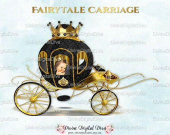 Little Prince Carriage Coach Black & Gold Crown | Caicasian |  Clipart Instant Download