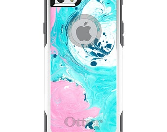 OtterBox Commuter for Apple iPhone 5S SE 5C 6 6S 7 8 PLUS X 10 - Custom Monogram - Any Colors - Aqua Pink Blush Marble Print