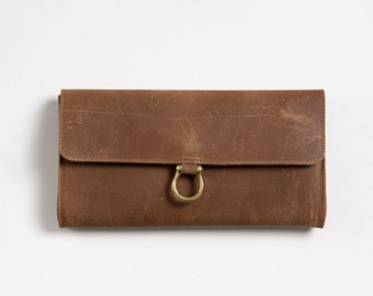 Brown leather wallet,clutch with slots, minimalist  women's wallet, gift for her, purse, wide wallet, christmas gift