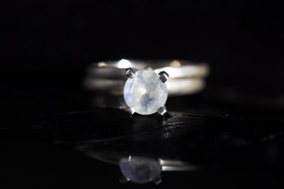 SAMPLE SALE Selena Moonstone Solitaire With Knot and Ribbon Set in Sterling Size 5, Ready to Ship
