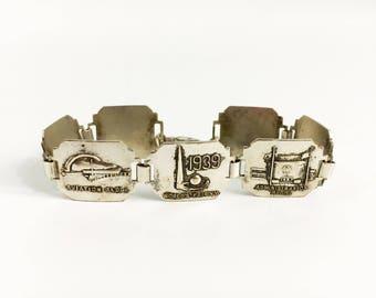Vintage Sterling Silver 1939 NY World's Fair Bracelet - Antique Link Bracelet With Buildings in Fair in New York