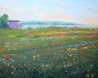 Tuscany field of flowers, original oil painting, poppies, sunset, impressionist, Italy, villa, green, yellow, red, wildflowers, Sessa