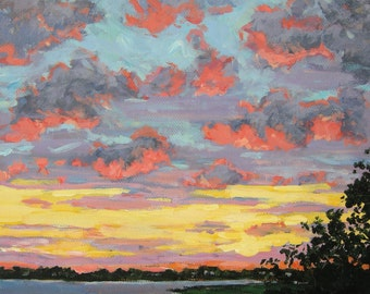 Sunset original oil painting, red pink clouds, yellow purple sky, Avalon New Jersey, coastal scene, Sessa