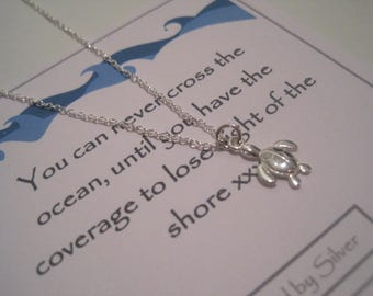 Sterling Silver Turtle Necklace - You can never cross the ocean until you have courage to lose sight of the shore