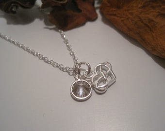 Sterling Silver Infinity Heart & Crystal Necklace (choose your colour) - a perfect gift for a loved one