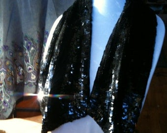1940's Black Sequin Scarf ~ Beautiful Condition