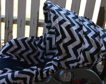 READY TO SHIP navy blue and white chevron with navy blue minky infant car seat cover and hood cover