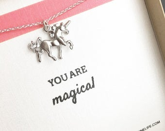 You Are Magical Necklace unicorn jewelry silver best friend necklace daughter necklace little girl be yourself be unique