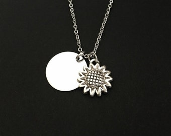 Sunflower Necklace. Personalized Flower Necklace. Stainless Steel Necklace. Friendship Necklace. Flower Girl Necklace. Bridesmaid Necklace.