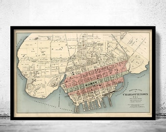 Old Map of Charlottetown Canada 1880