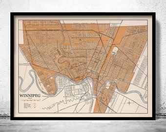 Old Map of Winnipeg Canada 1915