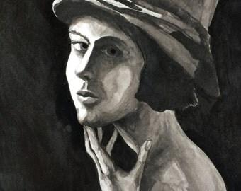 Film Noir Girl - india ink drawing