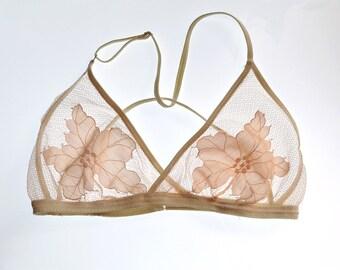 Sheer Bra. Sheer Bralette. Mesh Bralette. Sheer Tulle Bralette with Floral Embroidered Design. Adjustable thin straps. Bridal lingerie
