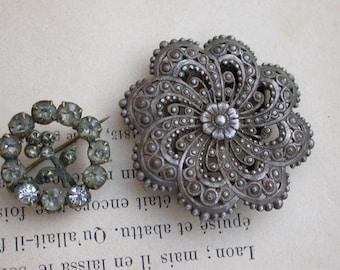 Lot 2 antiqueFrench vintage antique  silver bronze flower brooch crystal Signed Paris A F