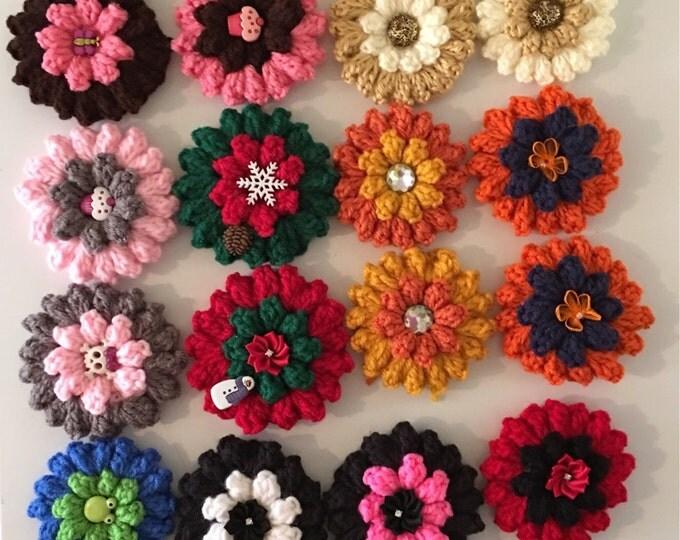Puffy Crocheted Hair Flowers-Girls Headbands-Bugs-Fall Flowers-Christmas Pins-Hair Accessories