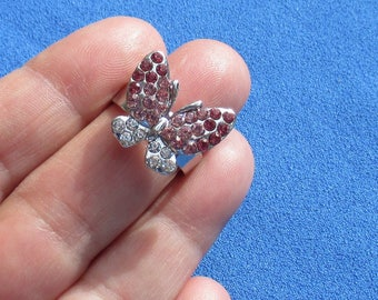 Retro Butterfly Pink & Clear Rhinestone Adjustable Metal Ring