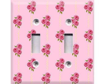 Pink Roses Double Light Switch Cover