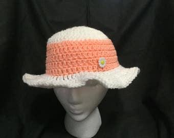 White/Peach Toddler Sun Hat
