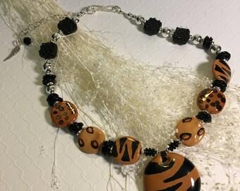 Safari, an African Kazuri, Artisan Lampwork , and Sterling Silver Necklace