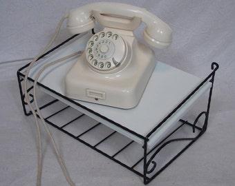 50er 60er Wand Konsolentisch, Alter Wand Telefon Tisch, Ablage, String Ära,  Schwarzes