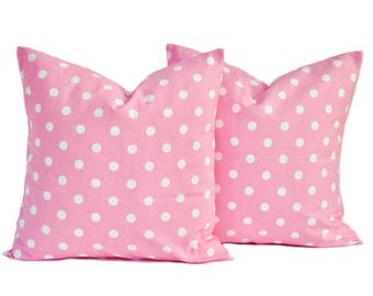 Two pink Premier Prints polka dot pillow covers, cushion, decorative throw pillow, decorative pillow, accent pillow, Pink pillow