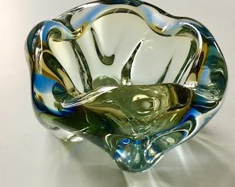 Murano Italian Free Form Glass Bowl / Ashtray Mid Century Art Glass