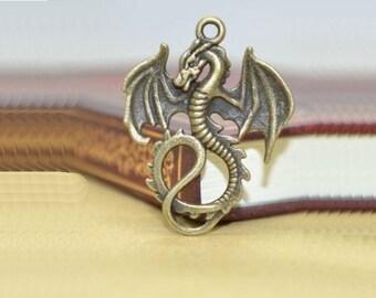 ABJ012 - Ascending Dragon Pendant in Brass/Bronze Finish