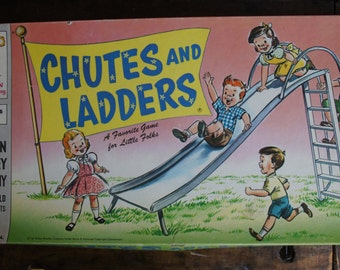 Chutes and Ladders Board Game ~ Complete ~ 1956 ~ MB Children's Game