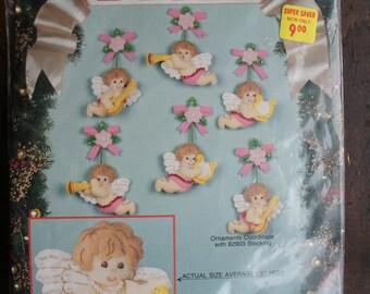 Bucilla Christmas Cherubs Felt Ornament Kit ~ Unopened ~ 1991 ~ Vintage Needlecraft Kit #82936