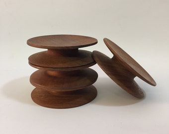 Set of Four Teak Danish Candle Holder Coasters